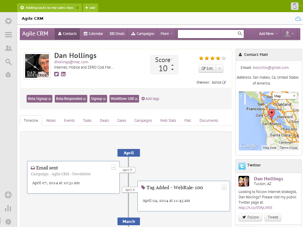 Agile CRM Dashboard in Zendesk