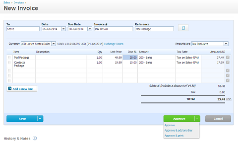New Xero Invoice in CRM
