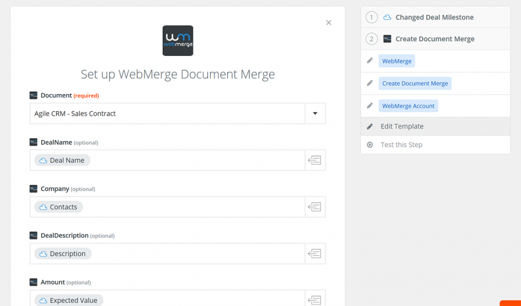 Create a Zap on Zapier for WebMerge and Agile CRM Deals
