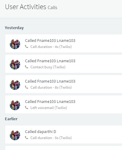 Call Logs in a User Timeline