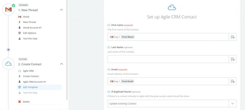 Zap with Gmail and Agile CRM - New Thread Create Contact