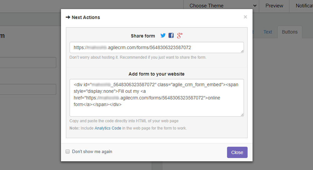Web Form Next Actions