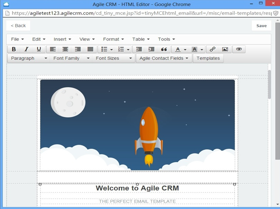 newsletter campaigns agile crm support